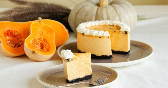 pumpkin souffle cake with oreo crumbs
